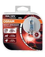 ΛΑΜΠΕΣ ΑΥΤΟΚΙΝΗΤΟΥ ΣΕΤ H4 OSRAM NIGHT BREAKER UNLIMITED 12V 60/55W +35m +110% MADE IN GERMANY