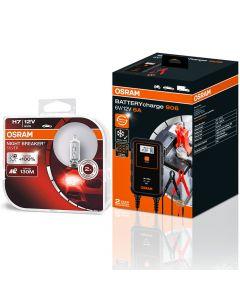 ΛΑΜΠΕΣ ΑΥΤΟΚΙΝΗΤΟΥ ΣΕΤ H7 OSRAM NIGHT BREAKER SILVER 12V 55W +130m +100% + Osram Φορτιστής-Συντηρητής  Μπαταρίας Αυτοκινήτου 906 6V&12V 6A