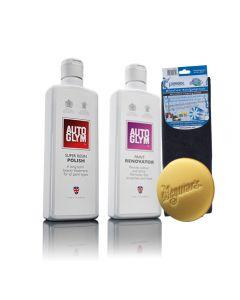 Autoglym ανανεωτής χρώματος Paint Renovator 325ml + Autoglym Super Resin Polish Aλοιφή γυαλίσματος-κερώματος 325ml + PETEX πανί μικροινών 40 x 40 cm + Meguiar's ® Soft Foam applicator pad