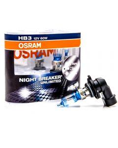 ΛΑΜΠΕΣ ΑΥΤΟΚΙΝΗΤΟΥ ΣΕΤ HB3 OSRAM NIGHT BREAKER UNLIMITED 12V 60W +35m +110% MADE IN USA – HB39005NBU