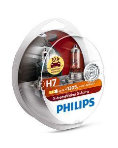 ΛΑΜΠΕΣ Philips H7 X-Treme Vision G-Force 10G αντοχή +130% περισσότερο φως σετ 2τμχ 12972XVGS2