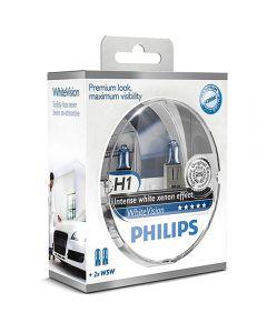 ΛΑΜΠΕΣ ΑΥΤΟΚΙΝΗΤΟΥ ΣΕΤ H1 PHILIPS WHITE VISION 12V 60/55W 4300K +60% +special gift 2xW5W